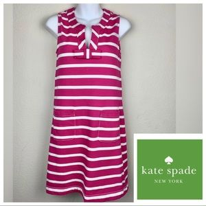 KATE SPADE NY Tropez Bow Pink White Striped Dress